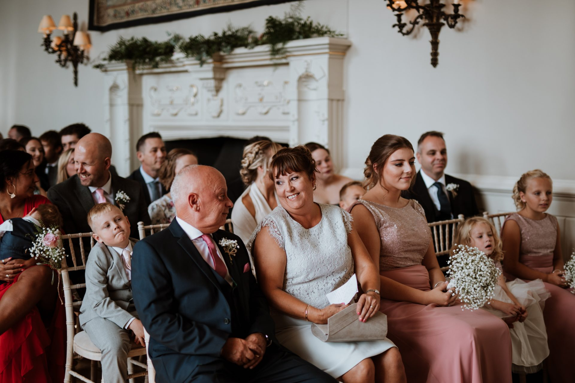 brides family laughing during ceremony