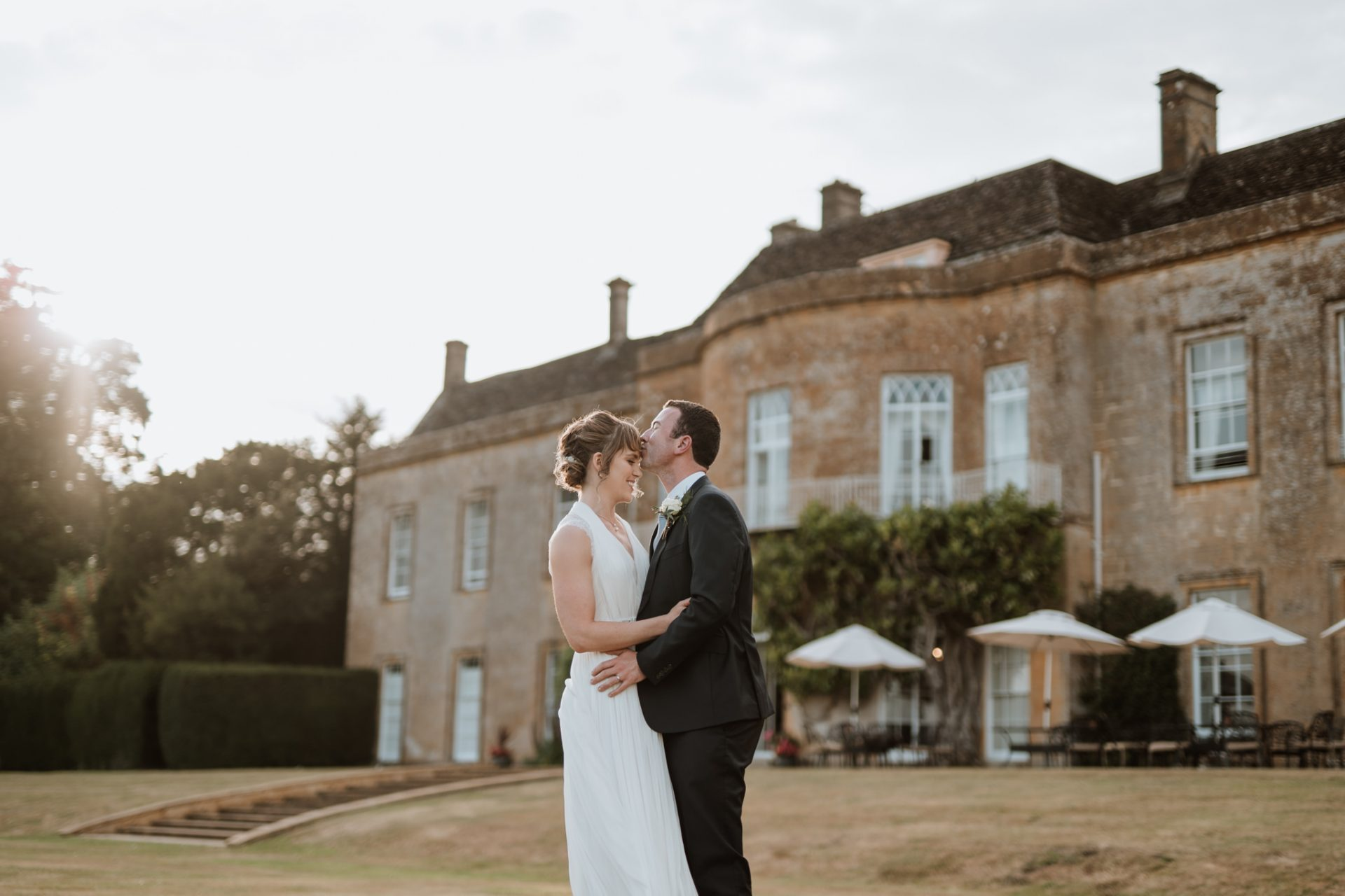 bride and groom forehead kiss north cadbury court golden hour