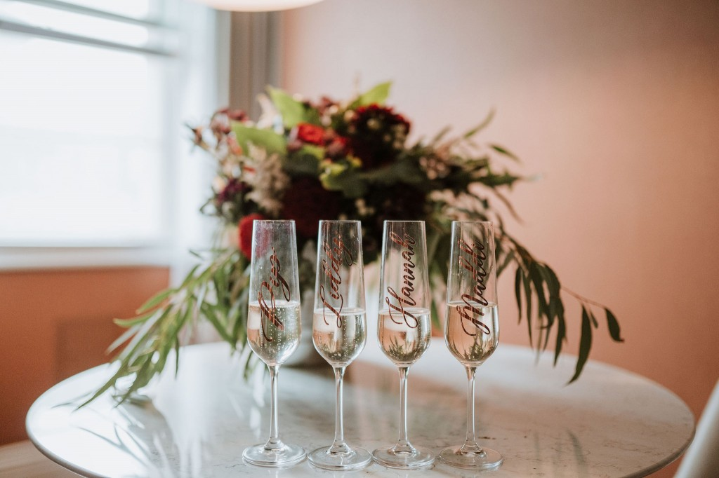 customised wedding champagne glasses