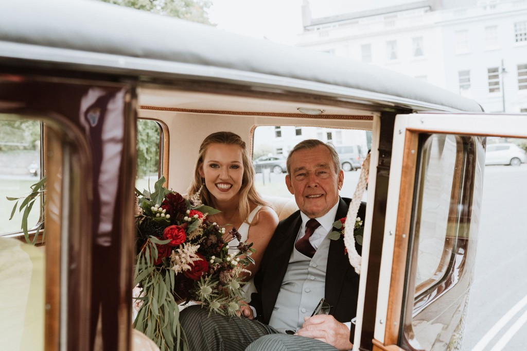 bride and father vintage car
