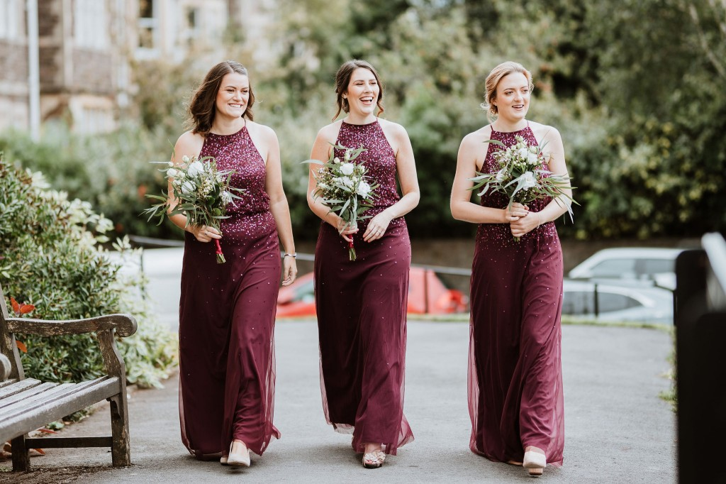 bridesmaids arriving at church