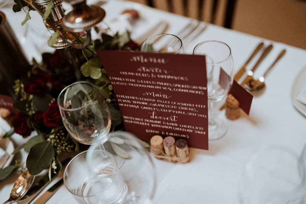 wedding breakfast table decorations wine burgundy theme inspiration