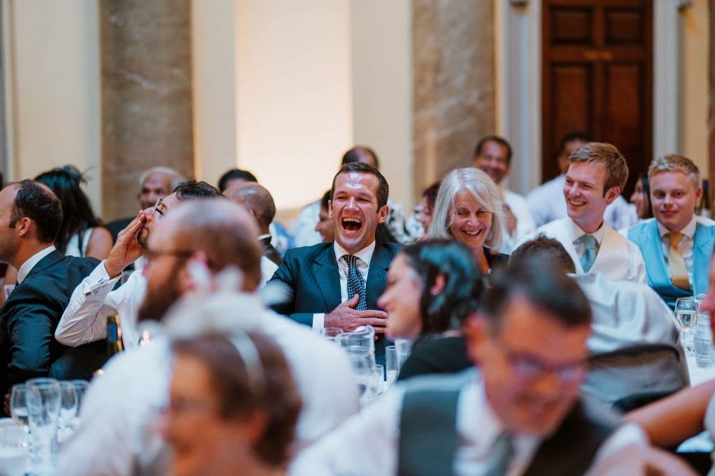 wedding guests laughing speeches