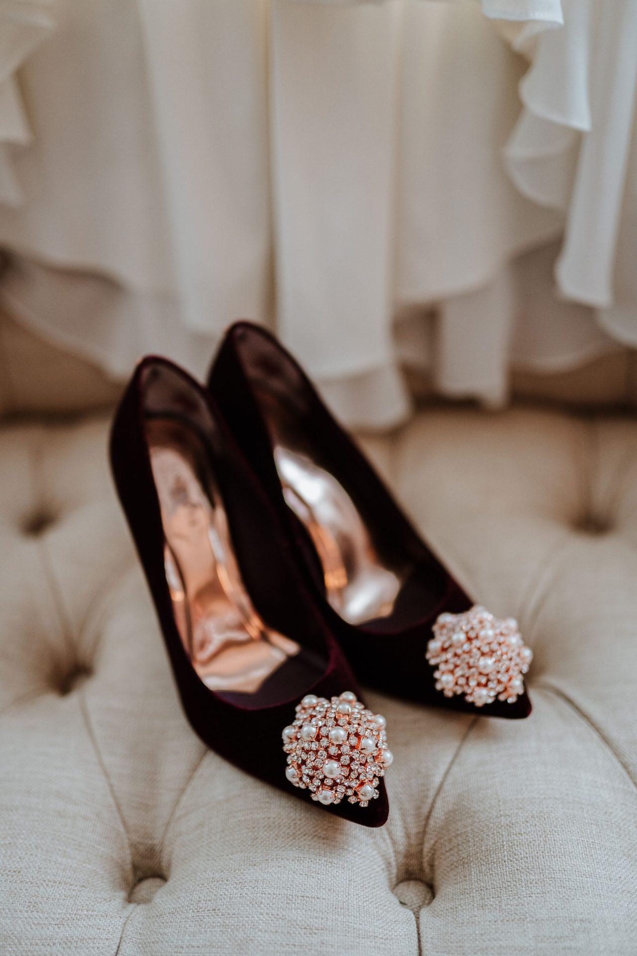 burgundy velvet ted baker wadding shoes