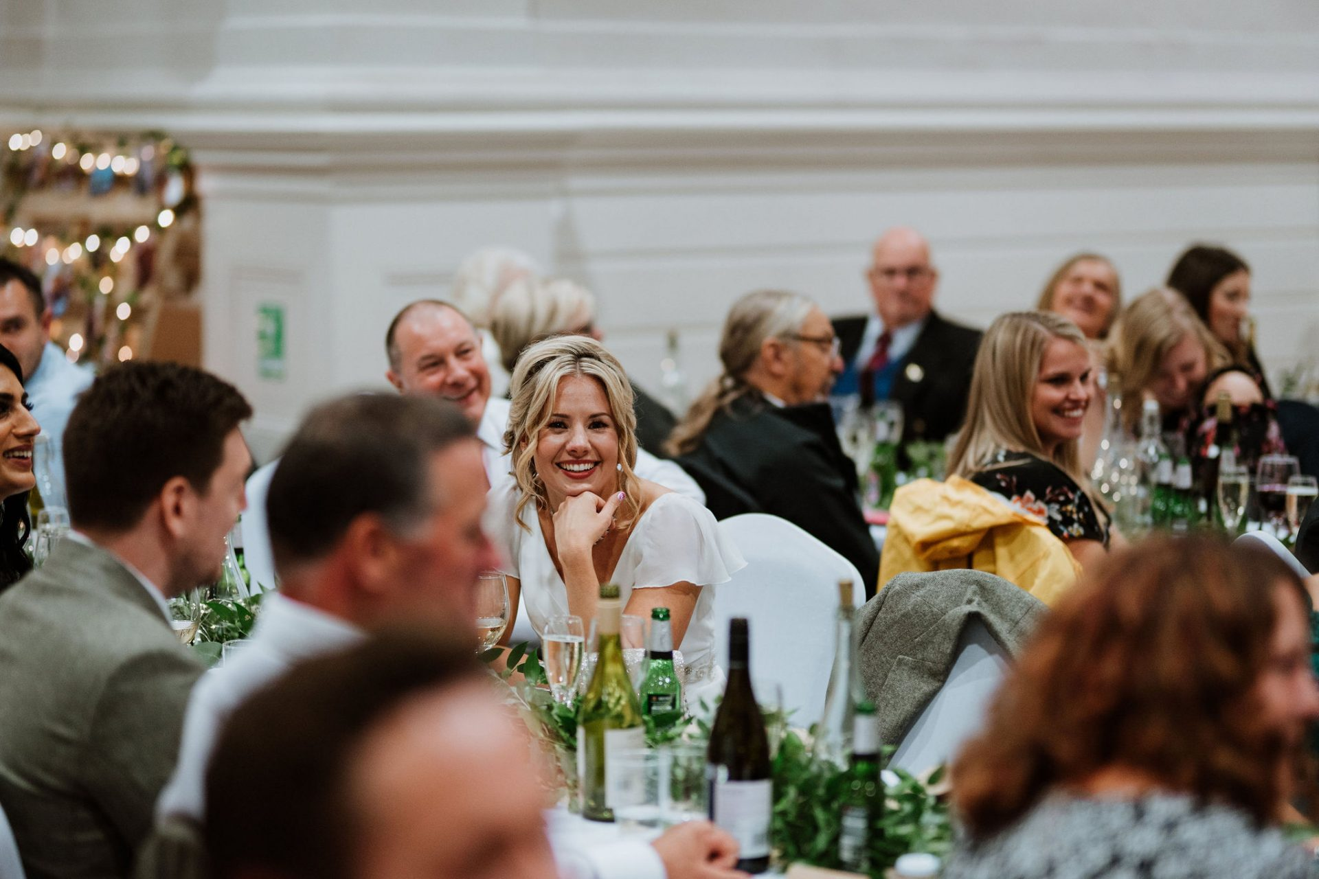 bride laughing wedding breakfast canid anglican chapel