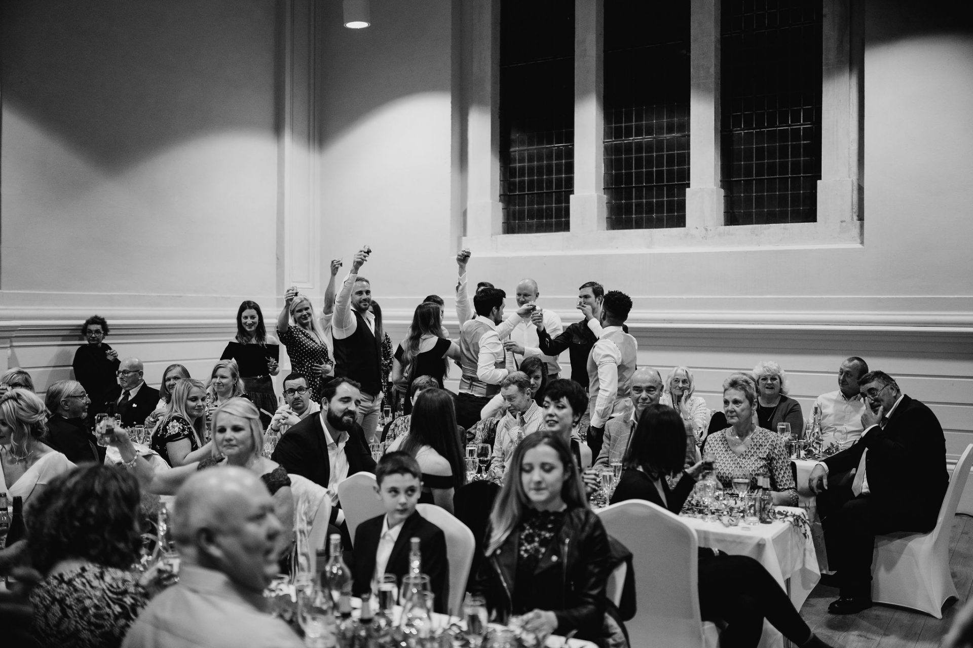 guests cheering during speech