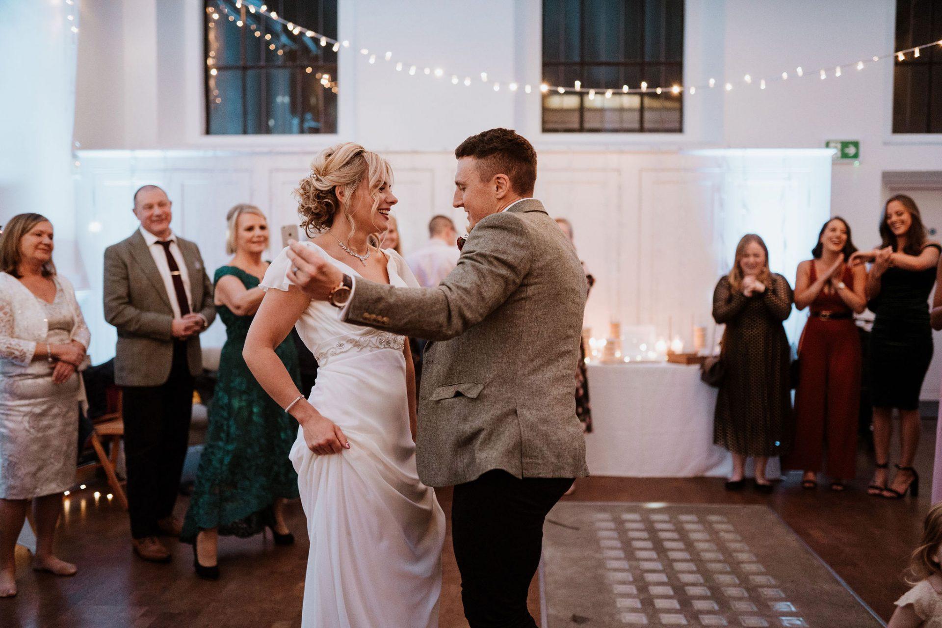 bride and groom first dance speilman centre arnos vale
