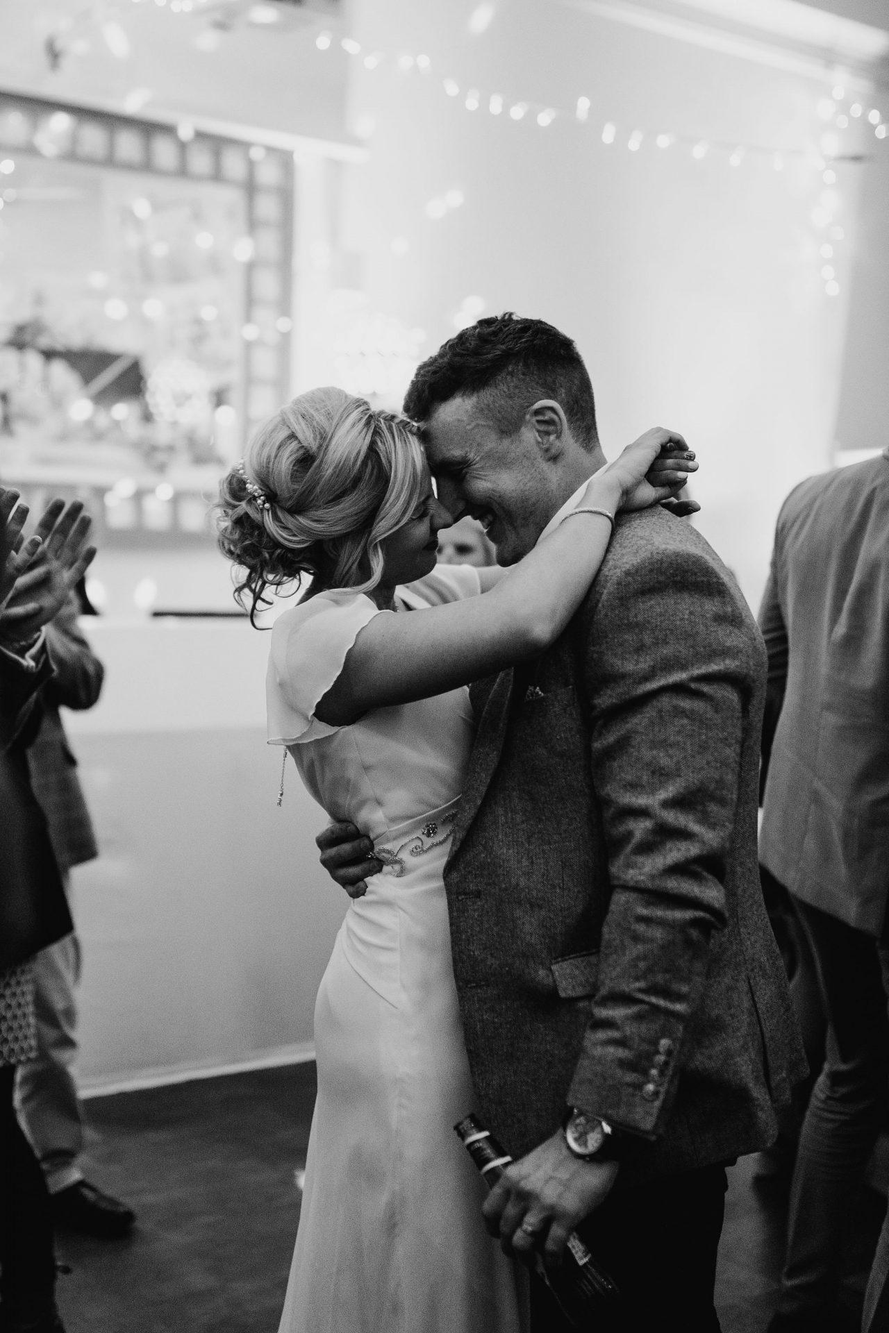 bride and groom dancing arnos vale speilman centre