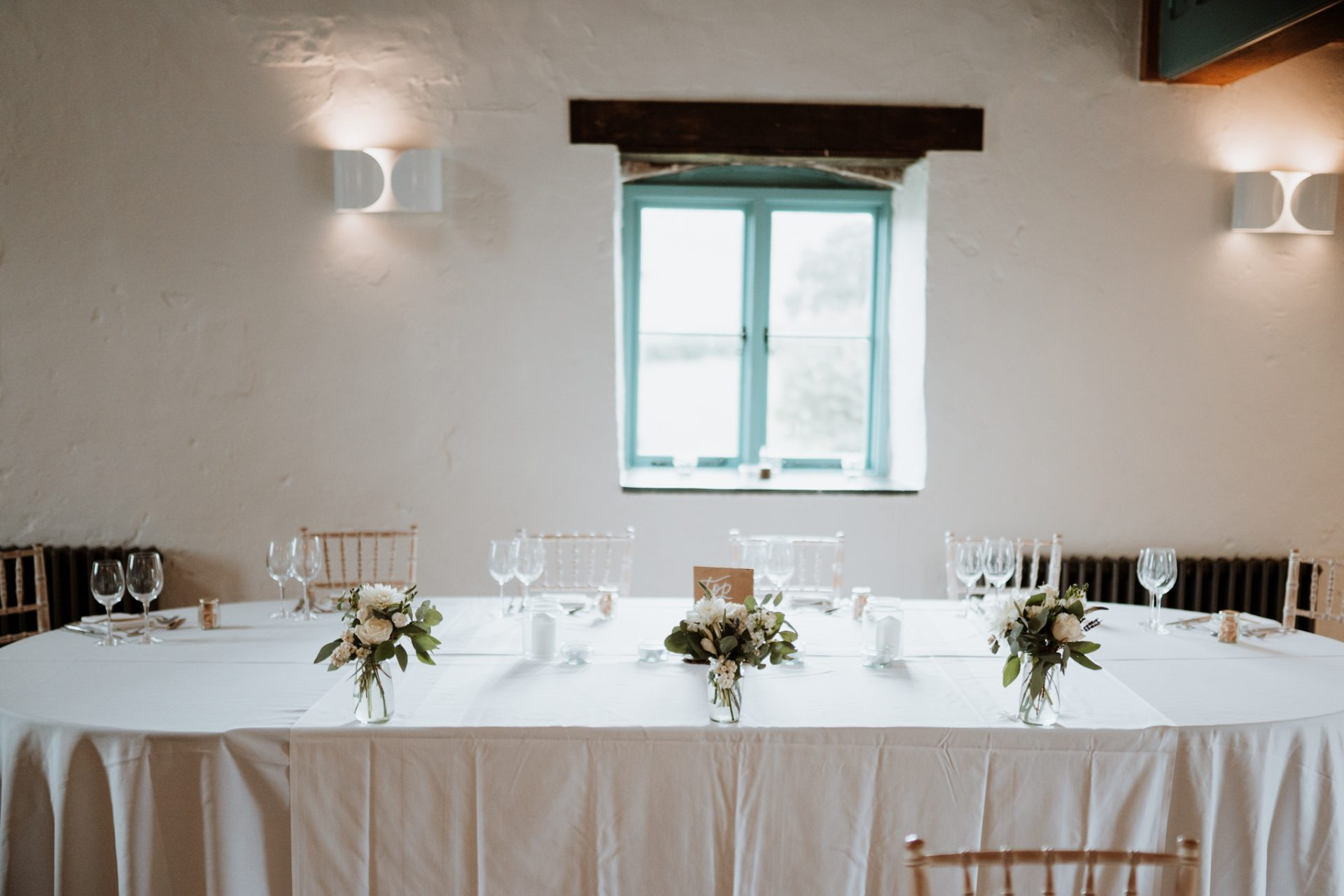 simple rustic wedding table decorations top table priston mill