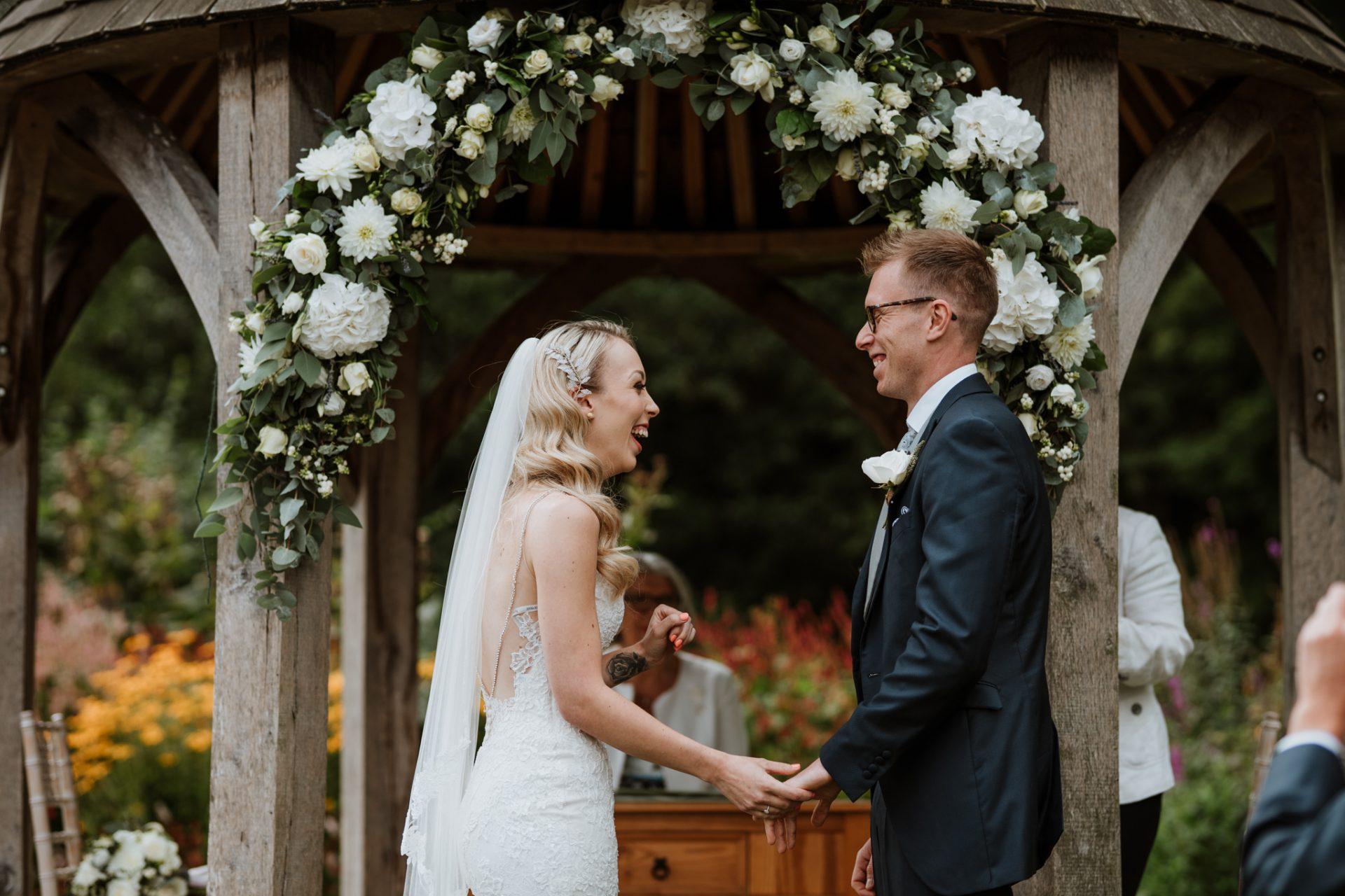 bride and groom outdoor wedding ceremony priston mill