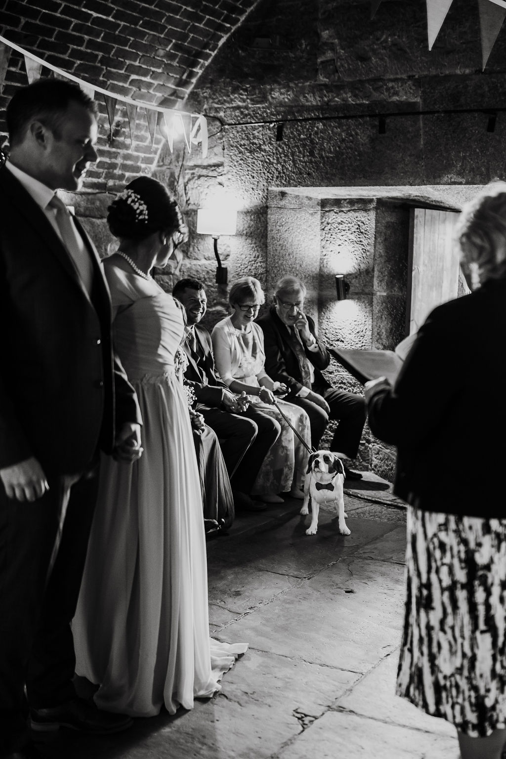 bride and groom dog watching ceremony