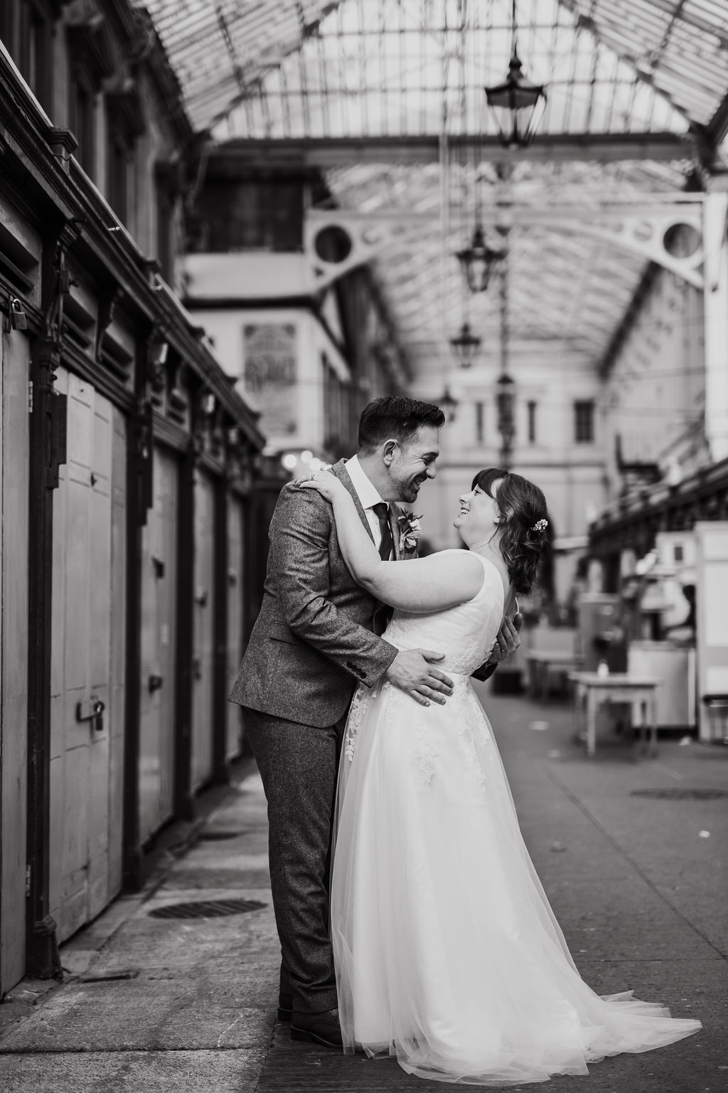 bride and groom in st nicks' market
