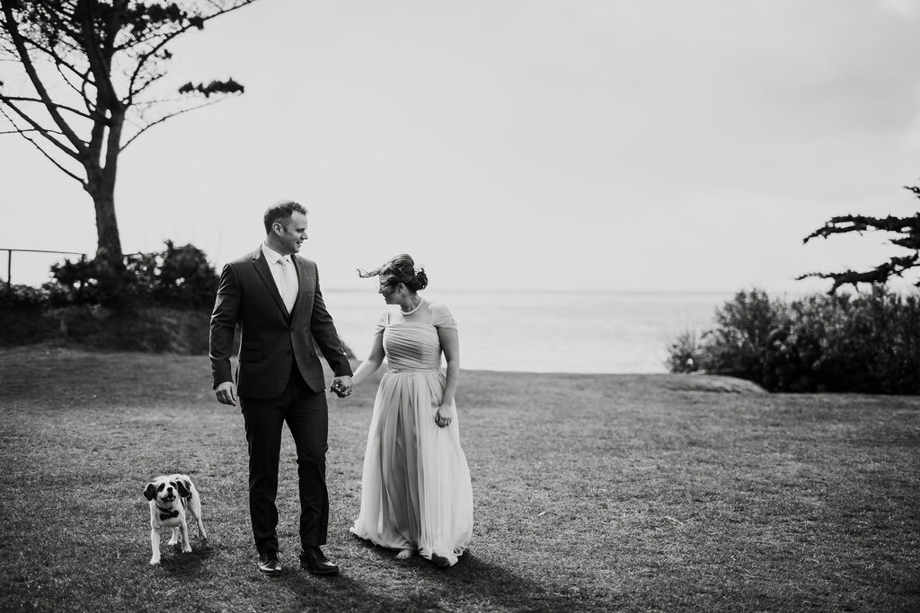 bride and groom dog outside polhawn fort