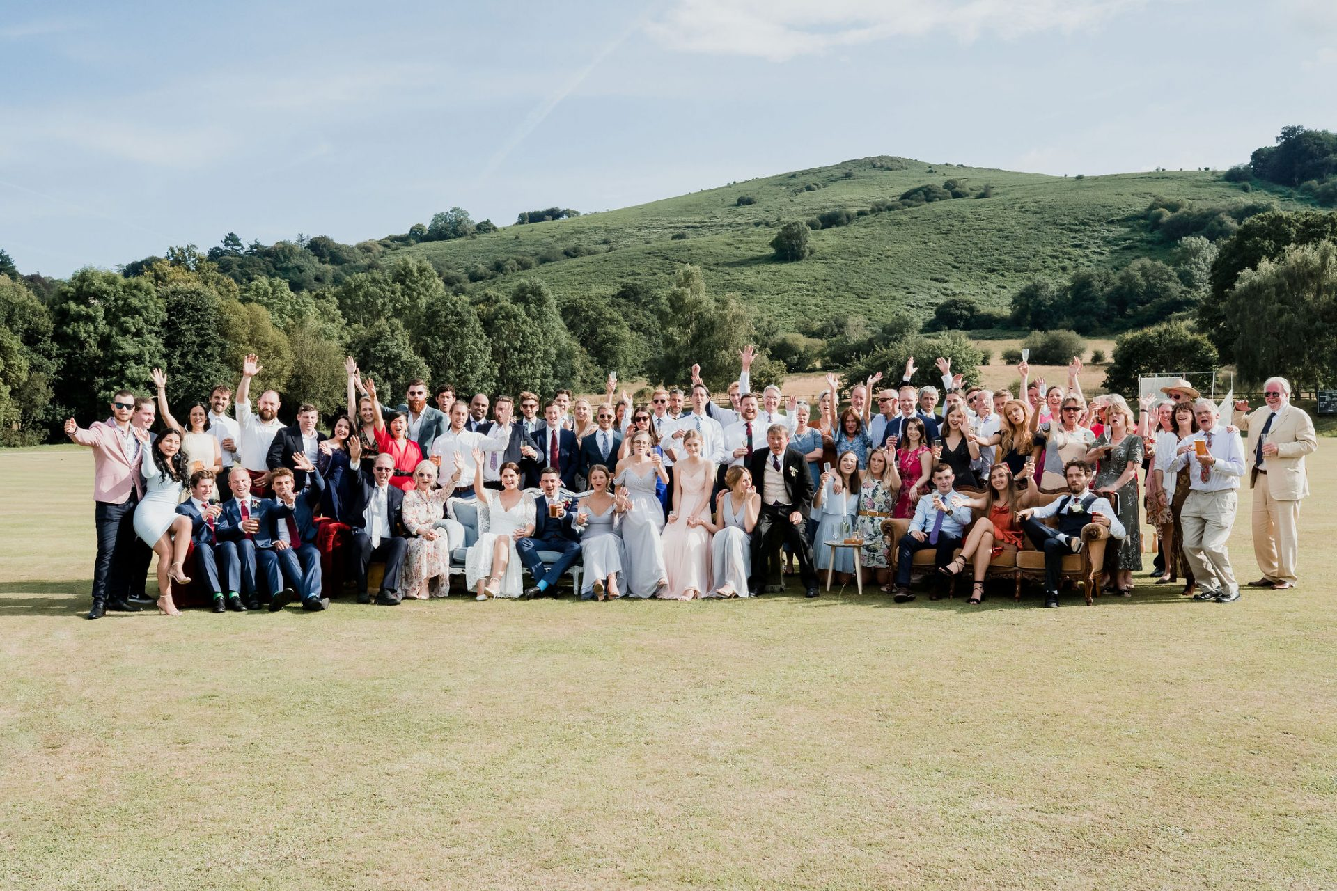 group photo of all wedding guests on dartmoor