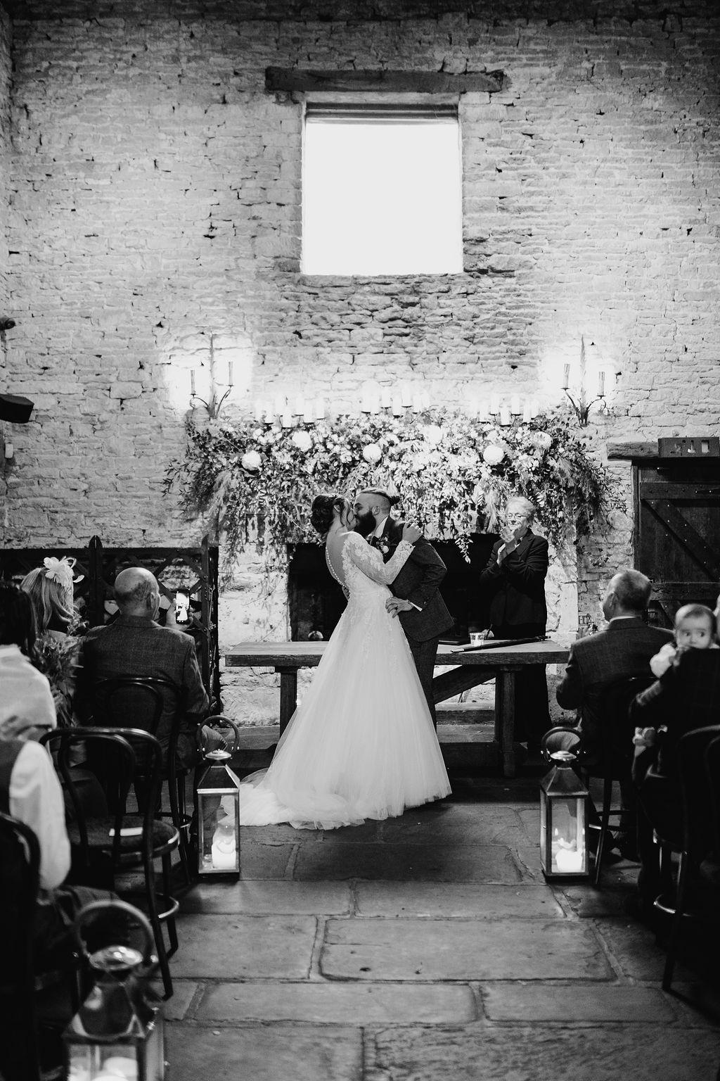 first kiss wedding ceremony cripps barn