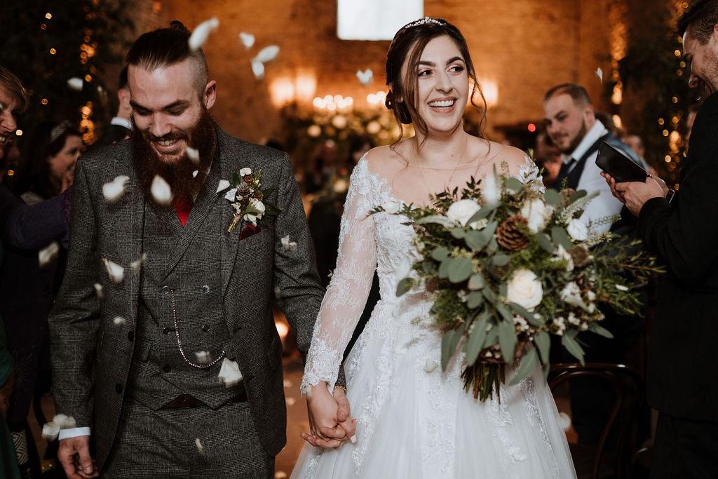 indoor confetti bride groom cripps barn