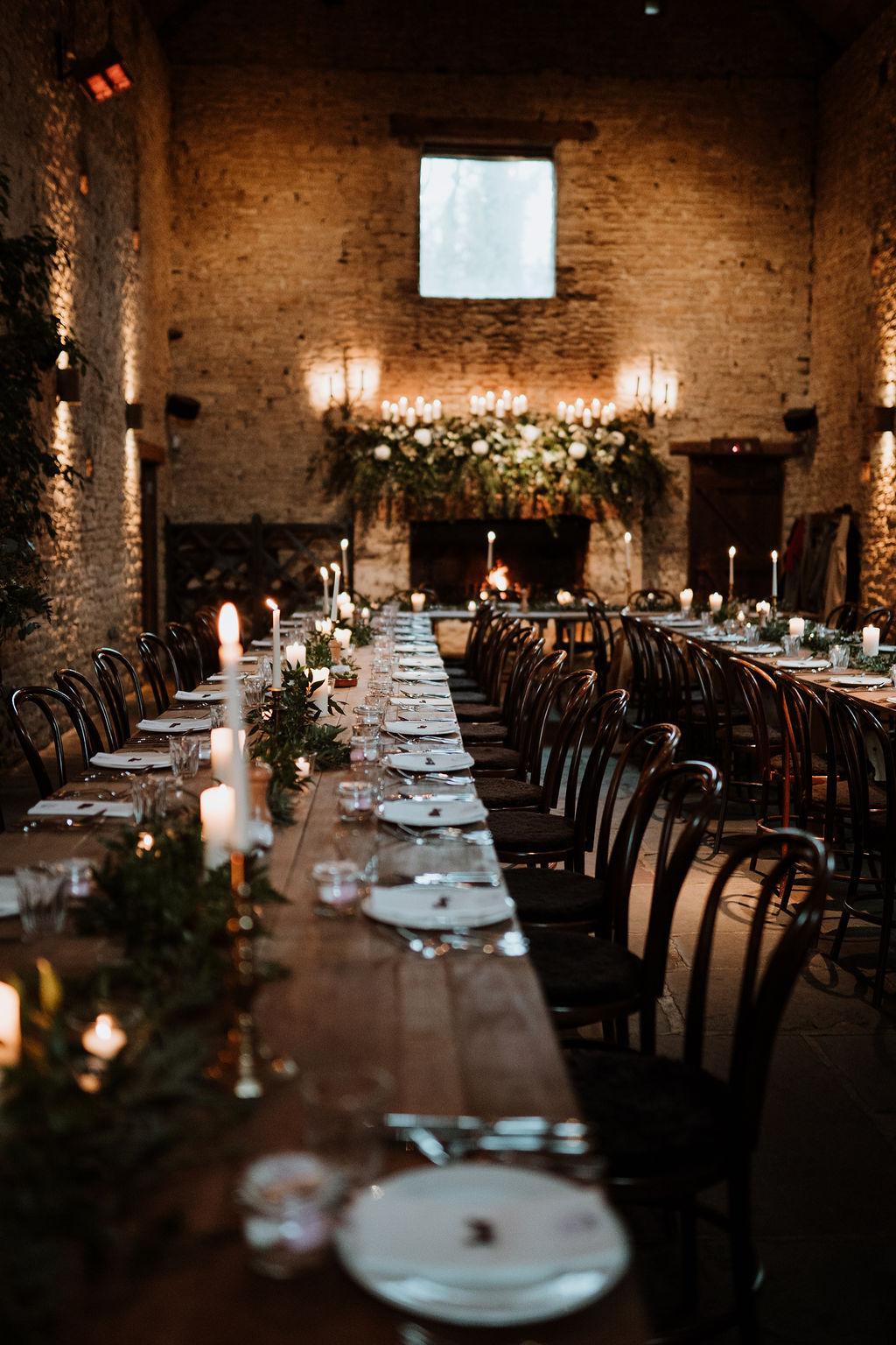 candlelit wedding breakfast cripps barn