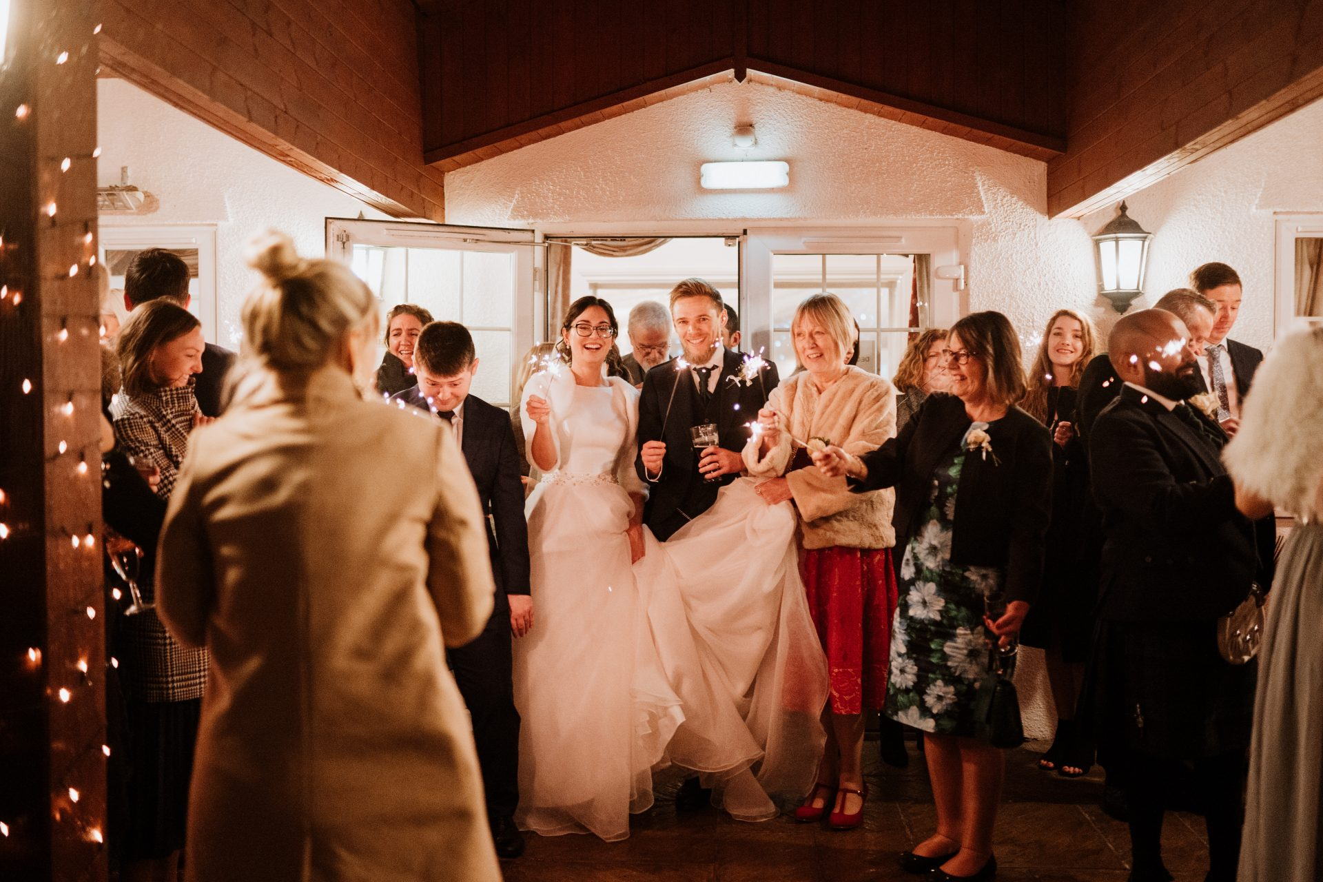 bride groom sparklers