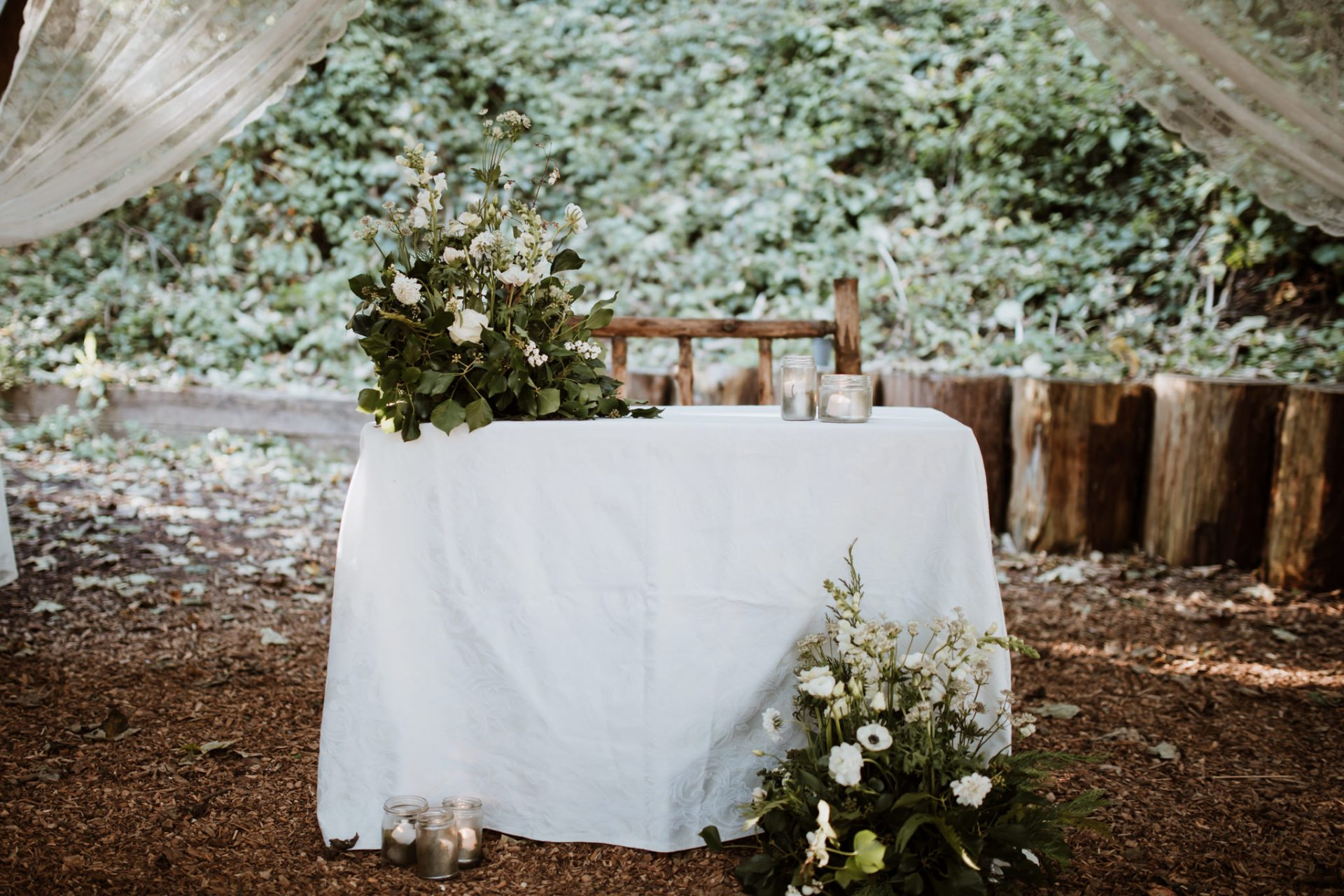 wedding table decorations outside ceremony arnos vale