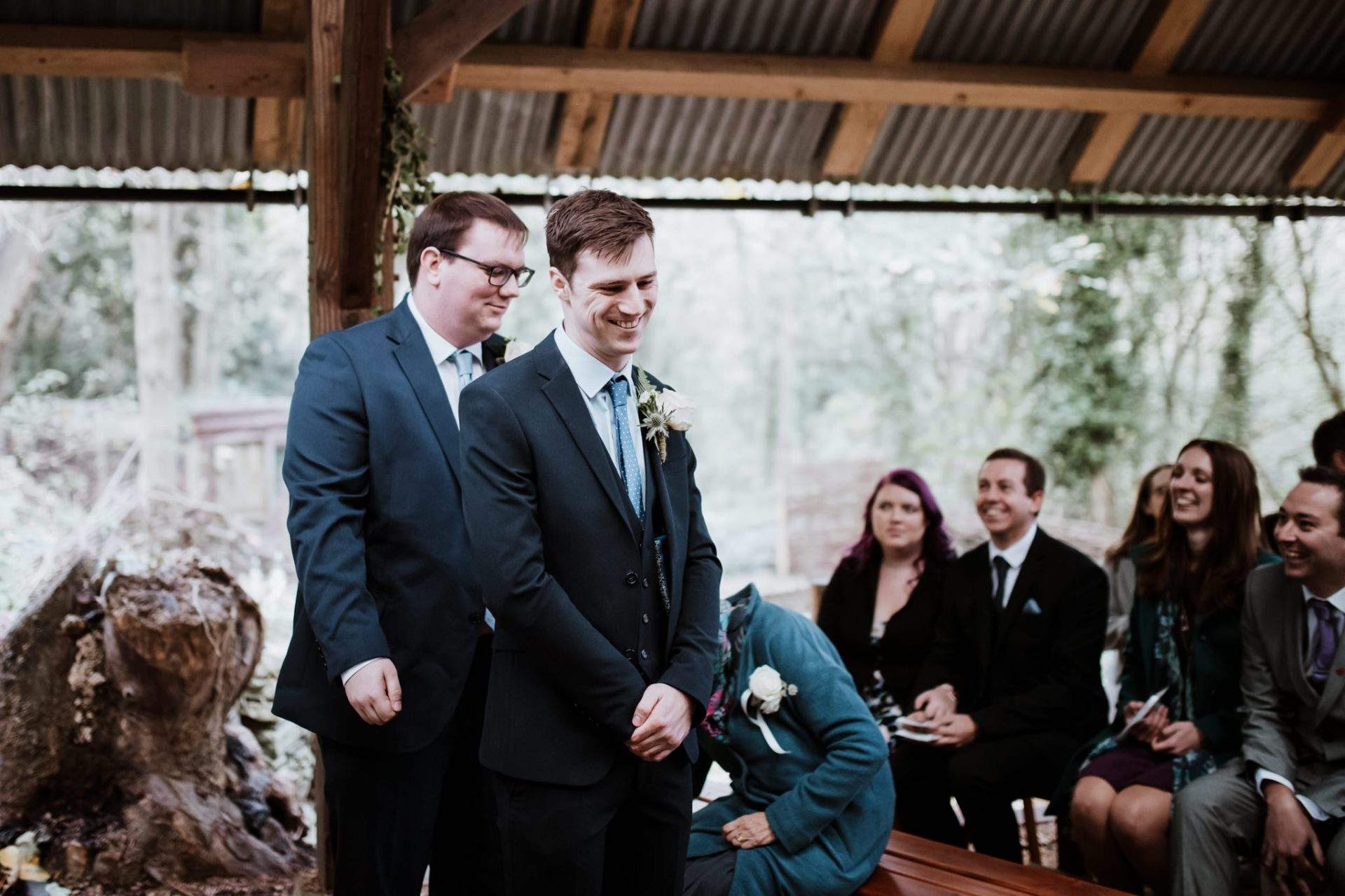 groom and best men waiting for the bride during the ceremony