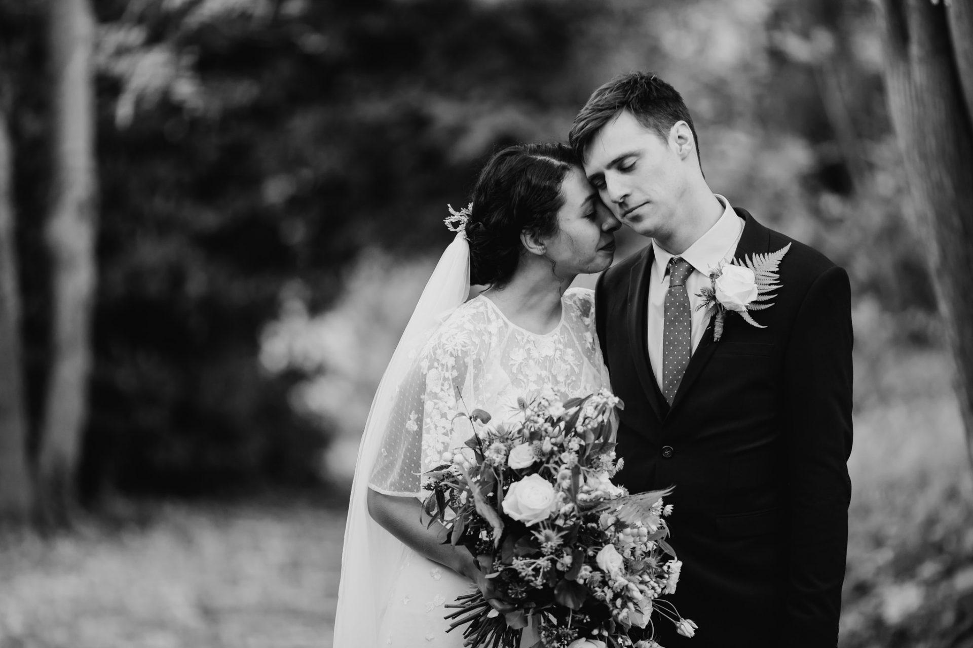 bride and groom emotional wedding portrait