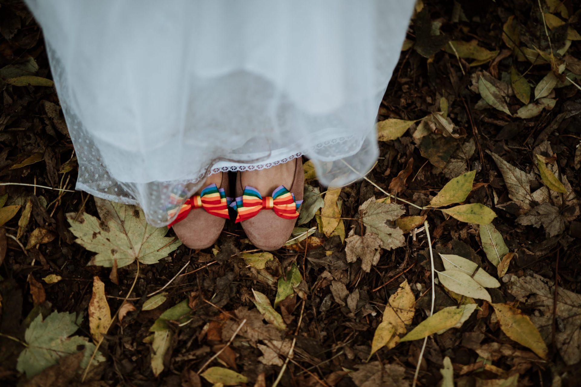 bride's rainbow wedding shoes