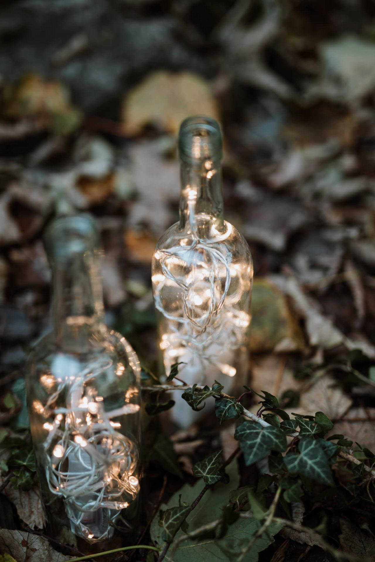 wedding decoration bottles filled with fairylights