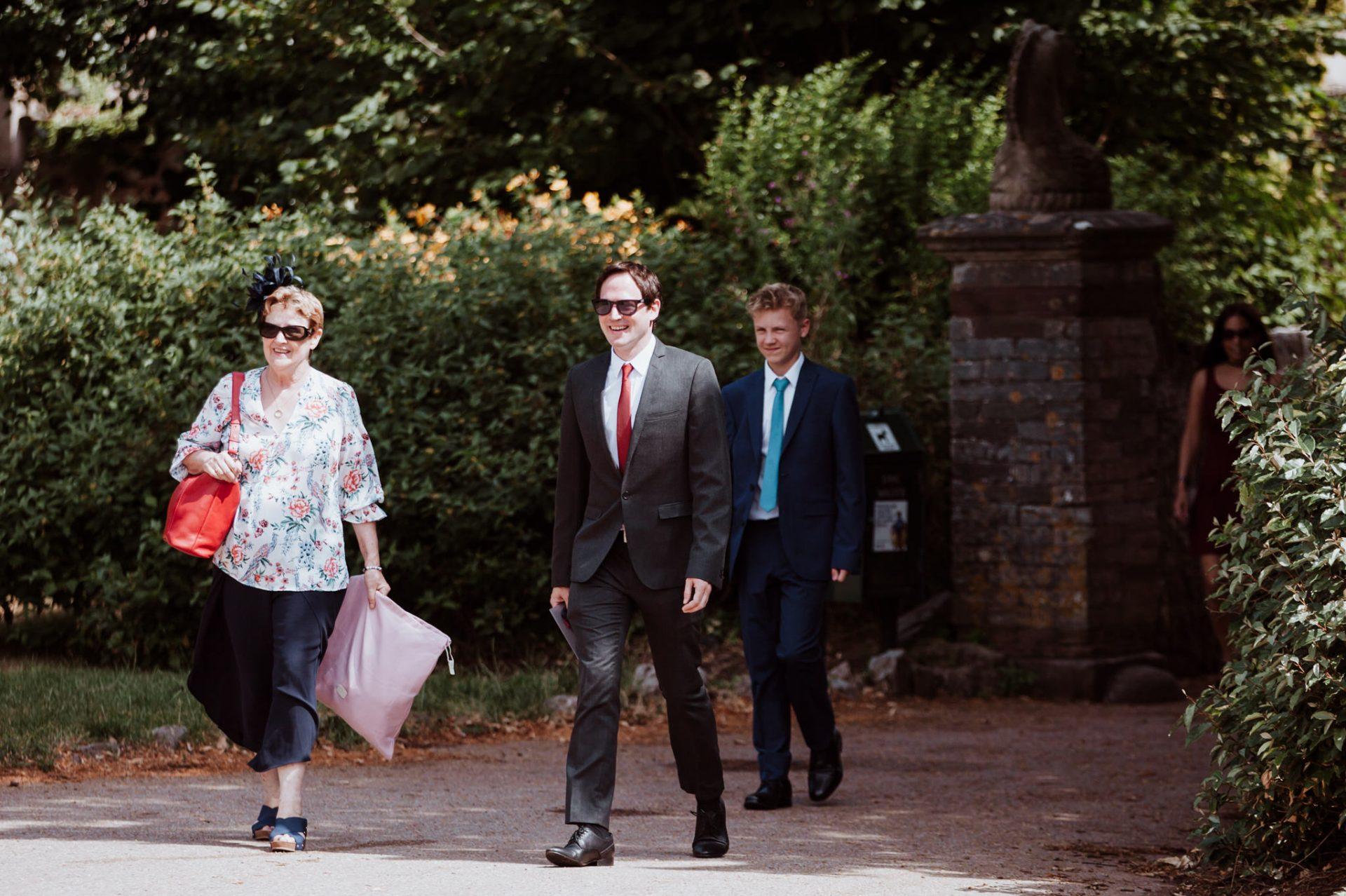 wedding guests arriving blaise castle museum