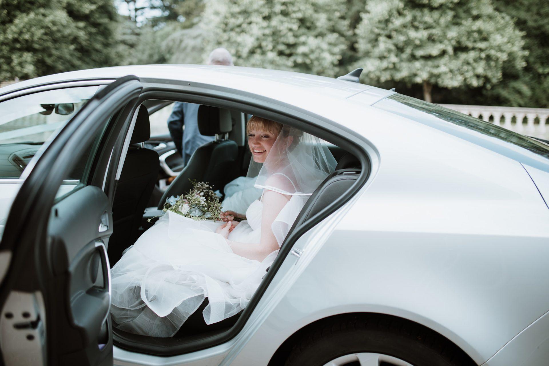 bride arriving to blaise castle mercedes