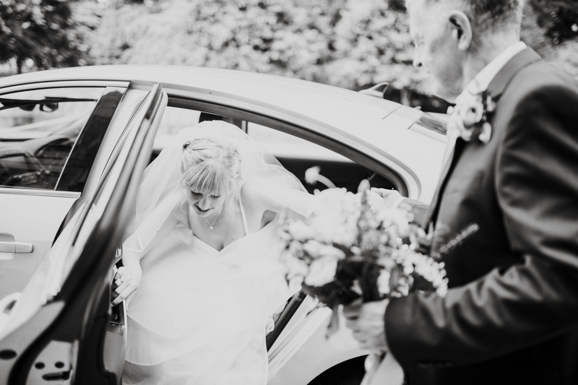 bride getting out of mercedes wedding car blaise castle