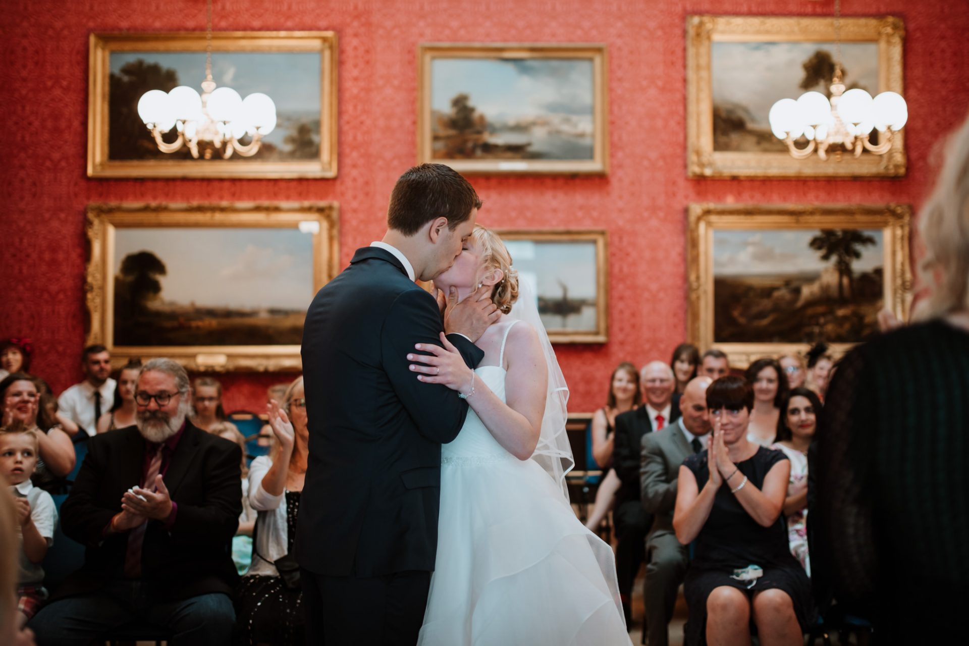 bride and groom first kiss ceremony blaise castle house museum