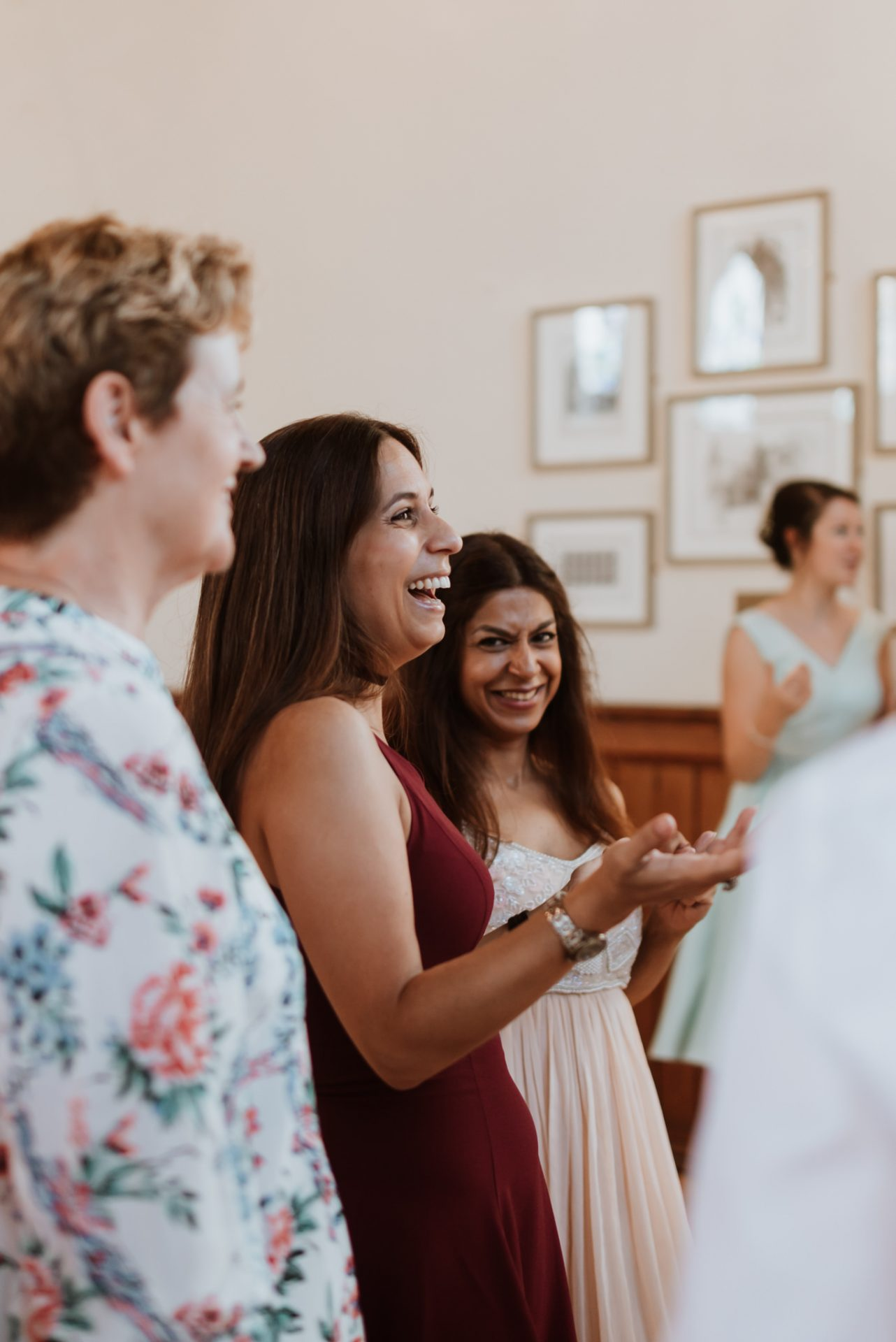 wedding guest laughing candid photography