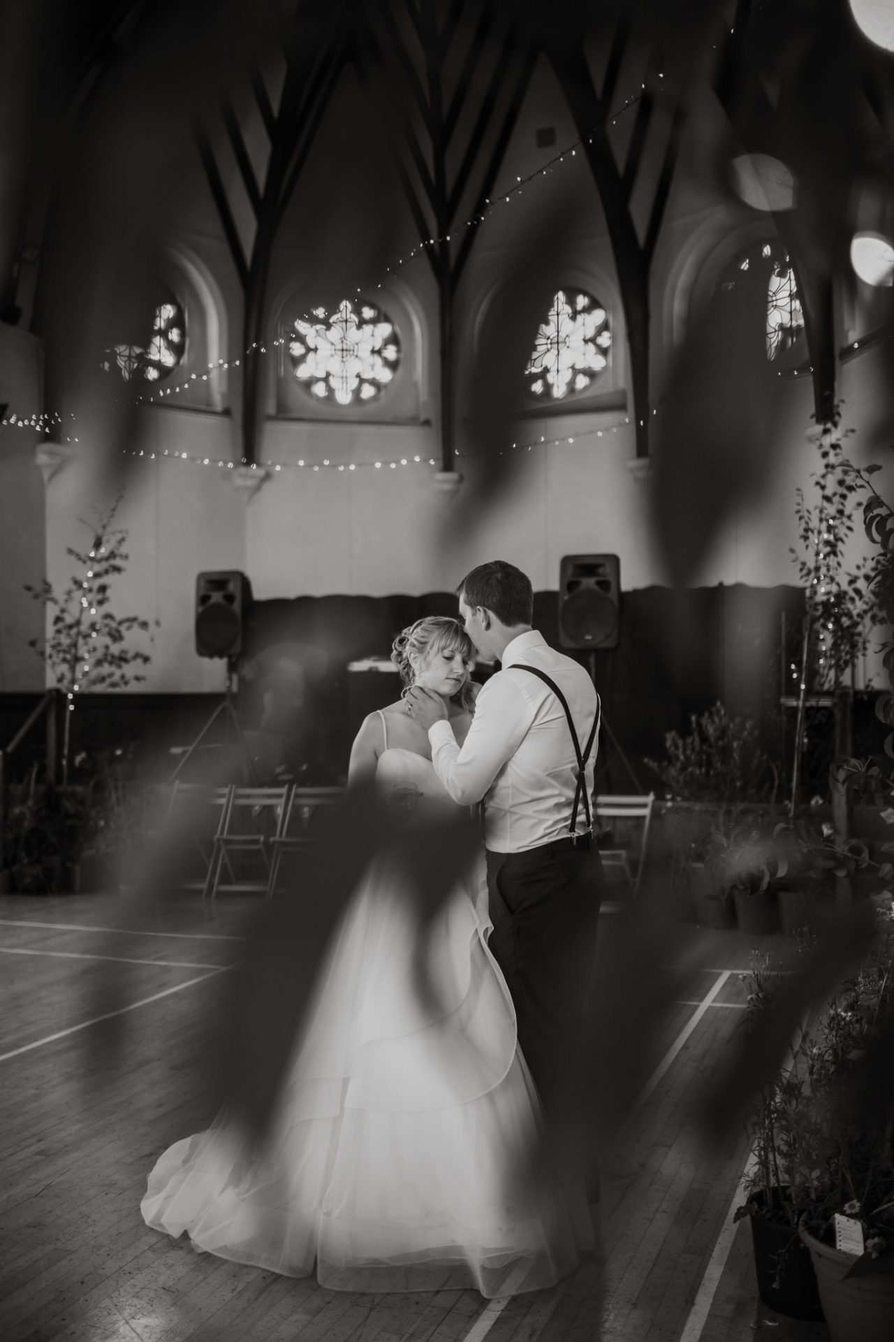 bride and groom having a private moment during wedding