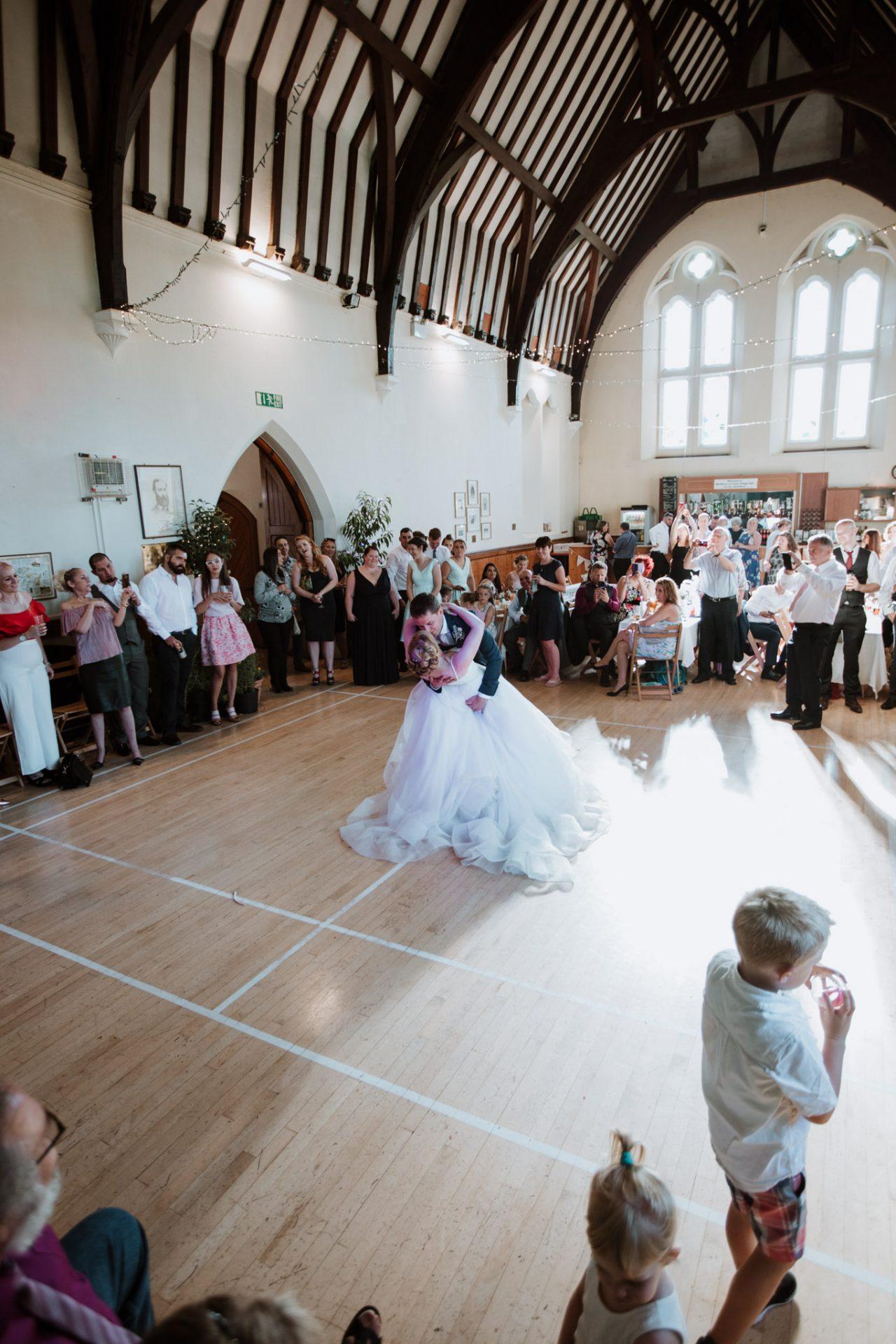 bride and groom first dance westbury on trym village hall