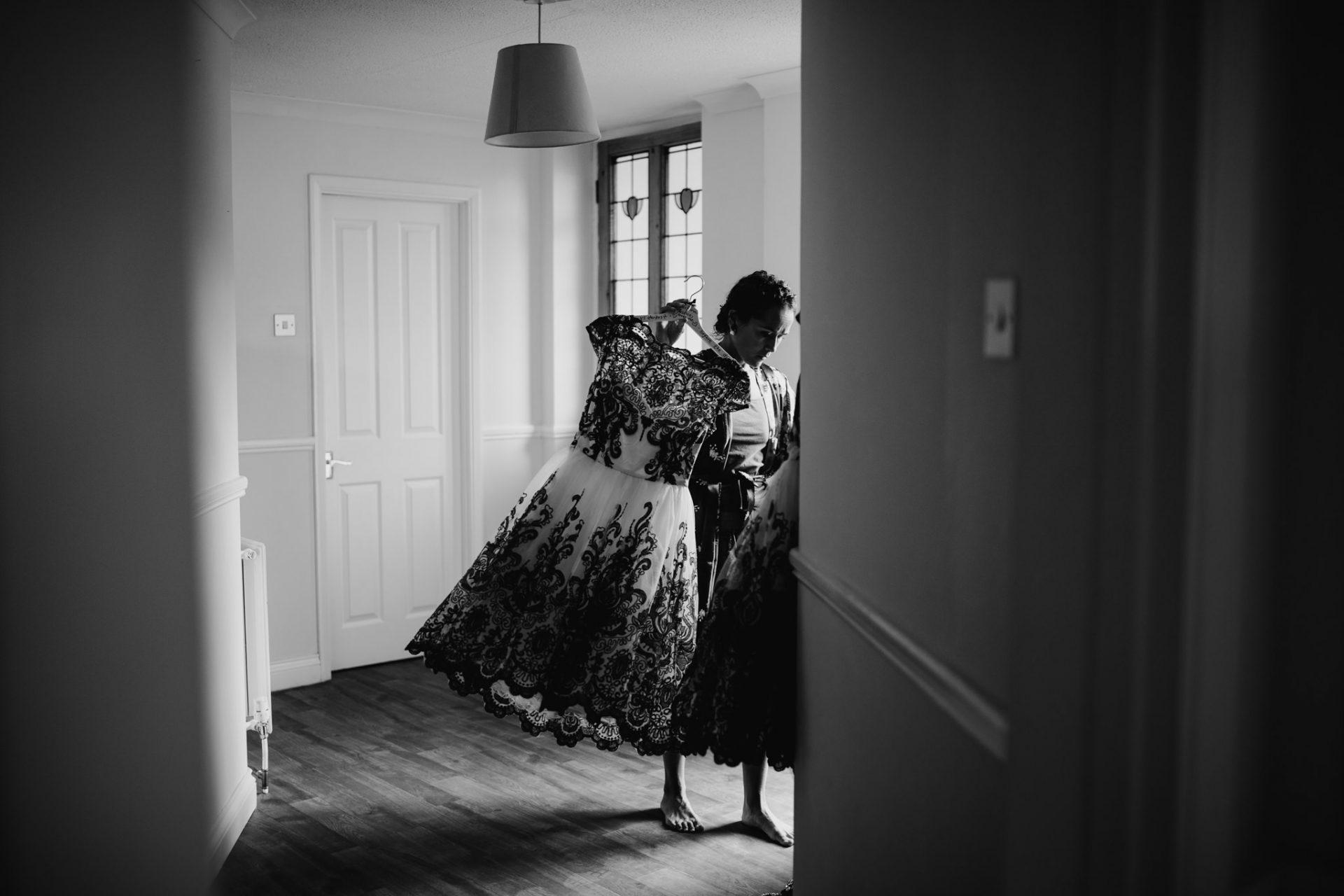 bridesmaid sorting out bridesmaid dresses