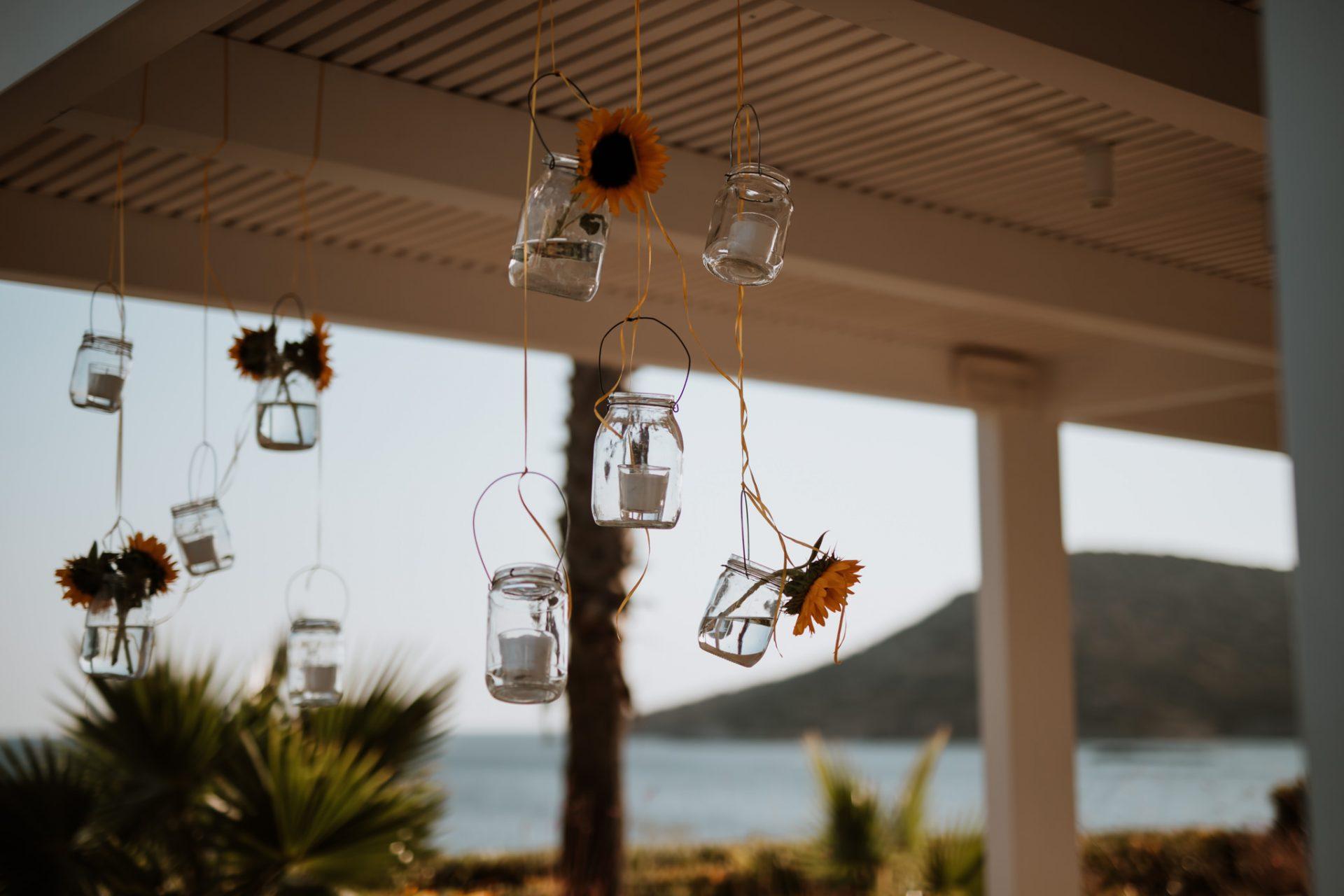 sunflower jar wedding decoration
