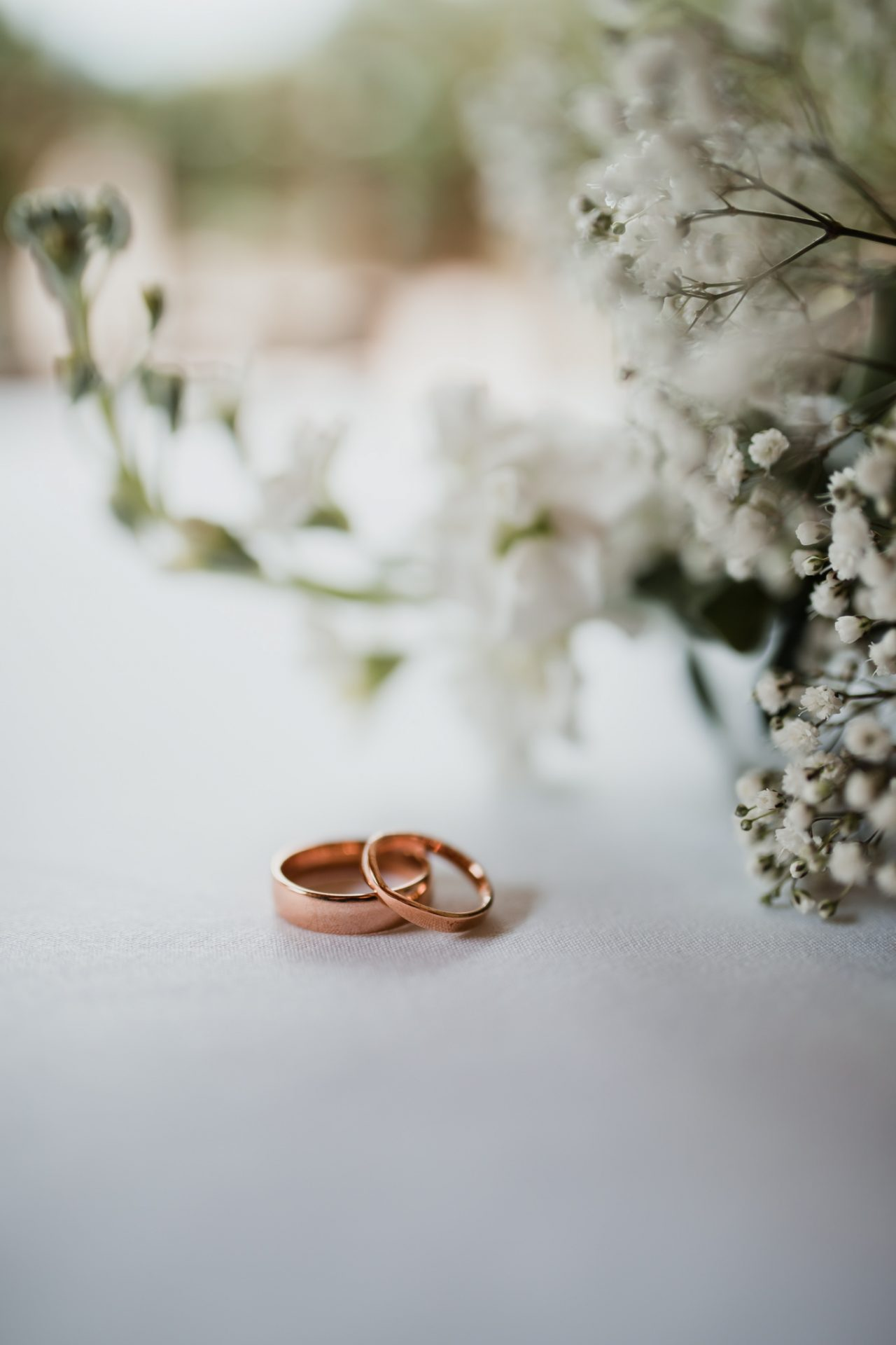 rose gold wedding rings detail shot