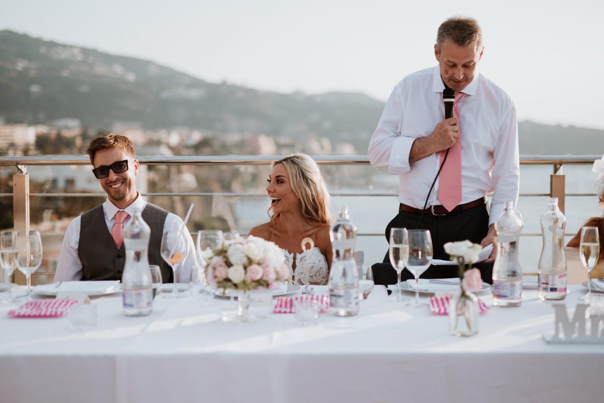 wedding speeches outside hotel mediterraneo views of sorrento