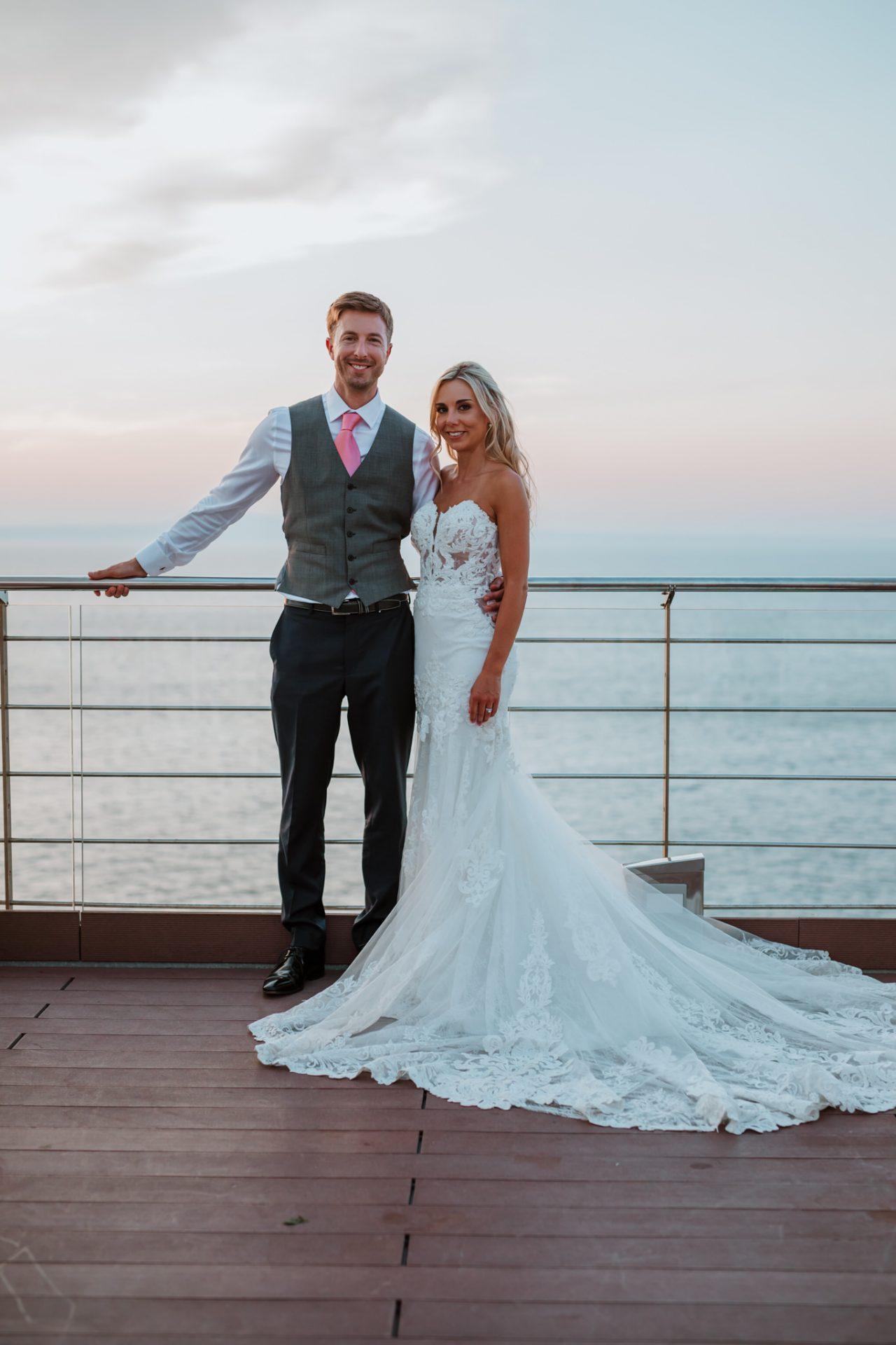 bride and groom portrait sunset sea views sorrento