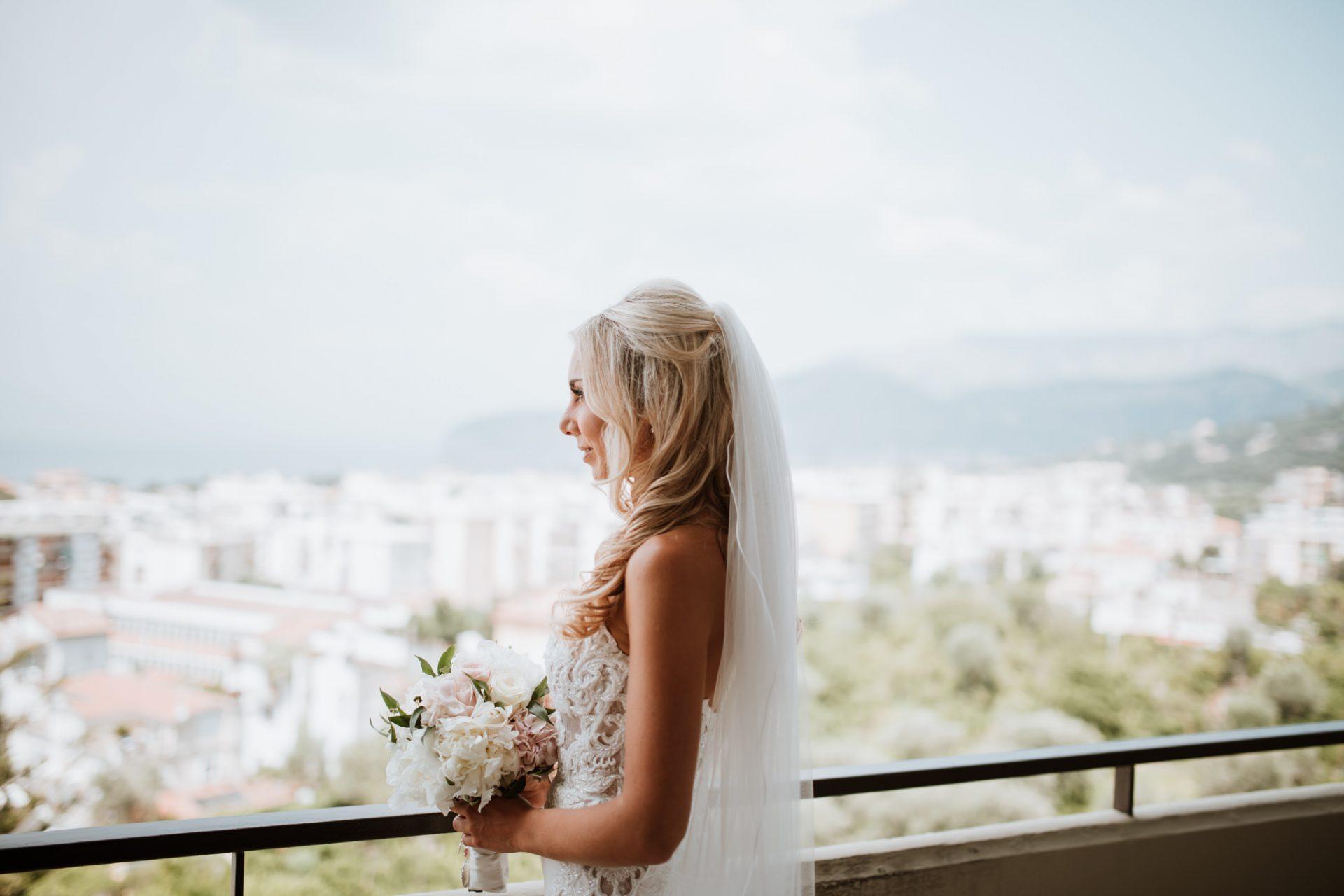 bride looking at the views of sorrento