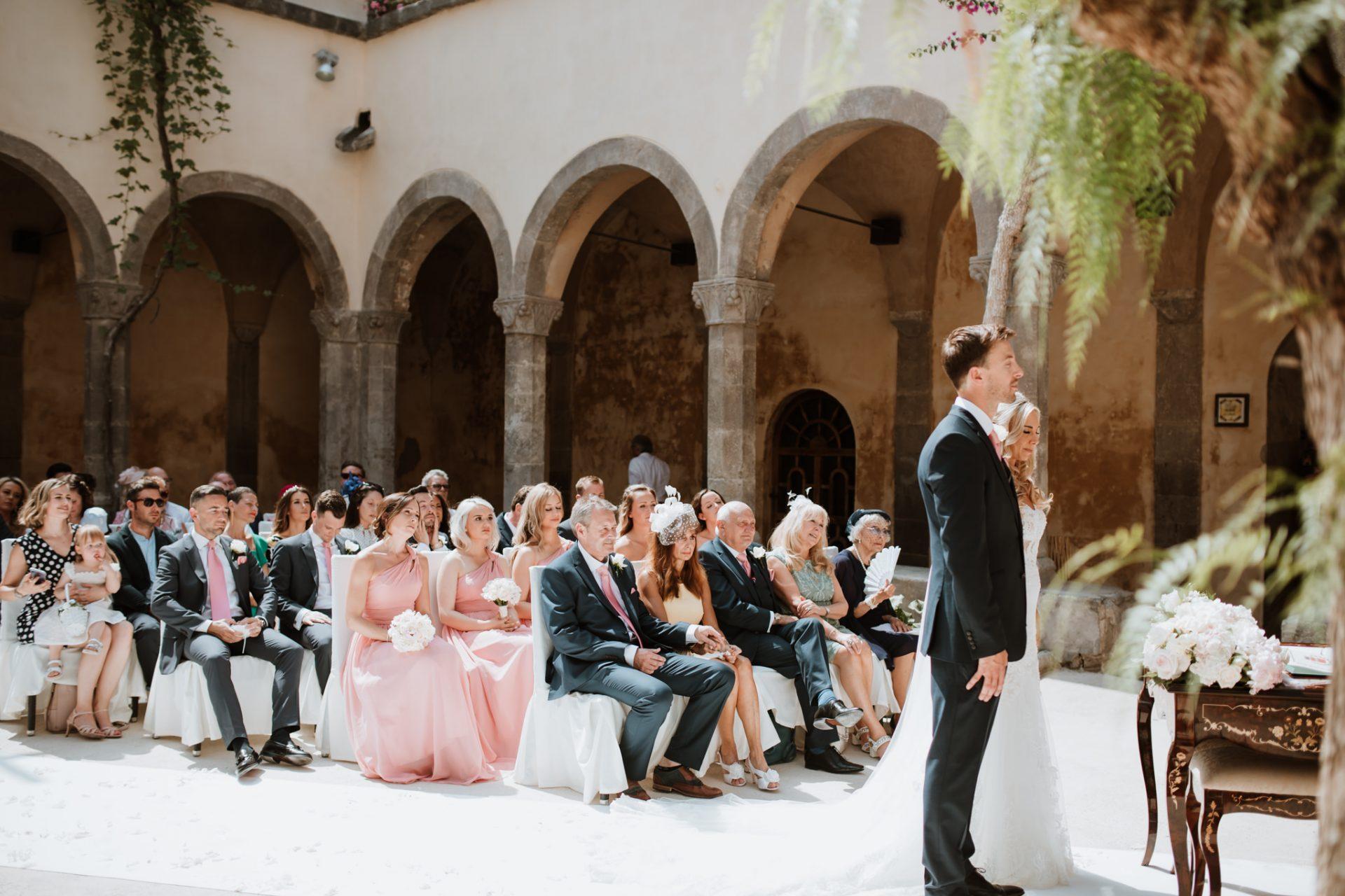 bride and groom wedding ceremony sorrento cloisters chiostro di san francesco