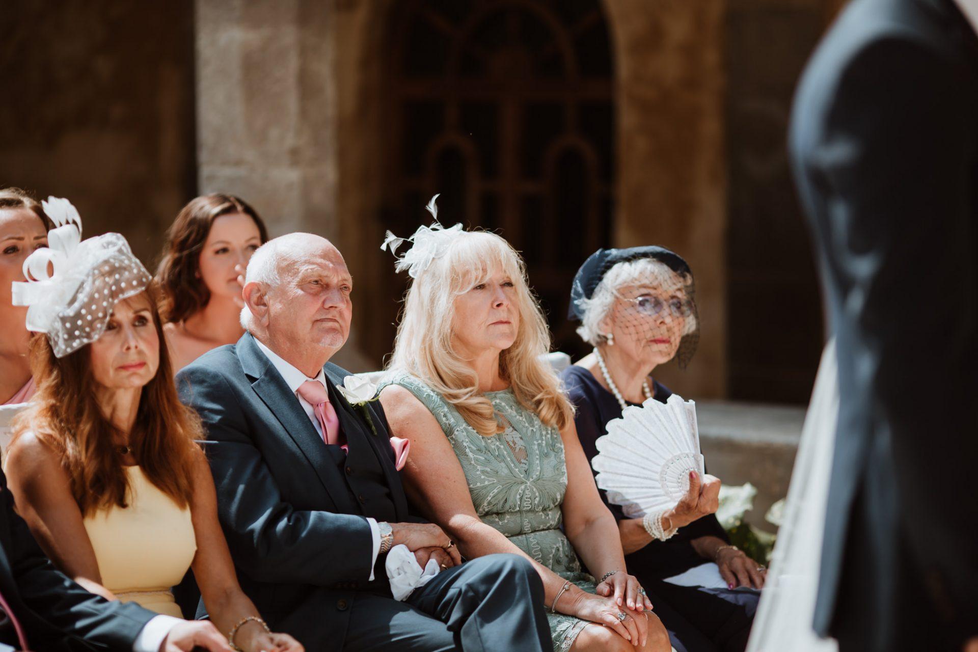 guests wedding ceremony sorrento cloisters chiostro di san francesco