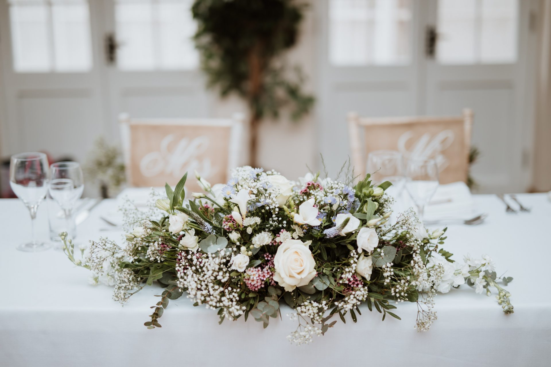 top table wedding flowers