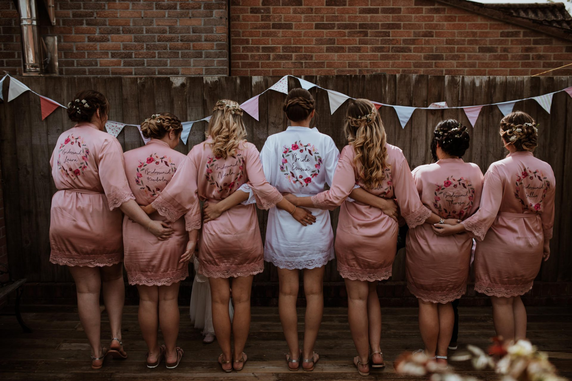 bridesmaids and bridesmaids in custom silk gowns